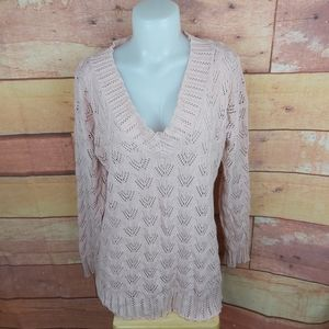 See through light crocheted sweater blush pink